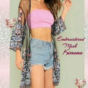 Tops - Embroidered Mesh Open Front Kimono